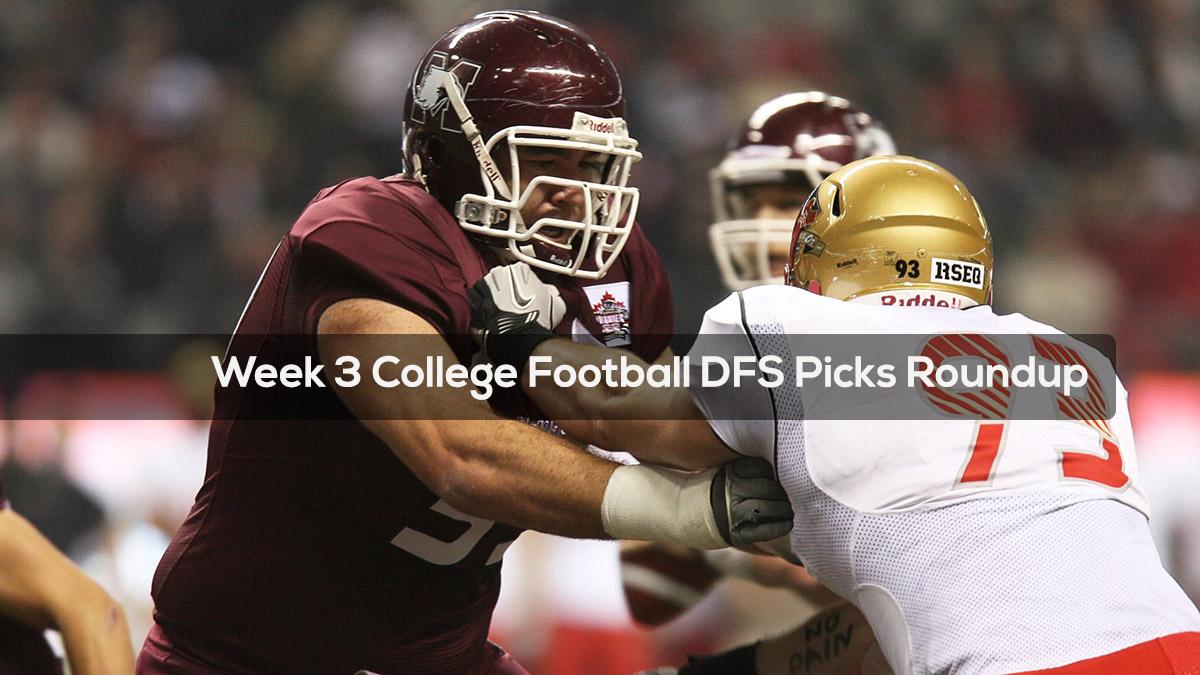 Week 3 College Football DFS Picks Roundup